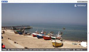 Widok z kamery online na plażę w Chłopach